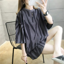 T-shirt M L XL Summer 2020 Short sleeve Crew neck easy Medium length routine commute polyester fiber 86% (inclusive) -95% (inclusive) 18-24 years old Korean version youth Jiafei's Poems Polyester 95% polyurethane elastic fiber (spandex) 5% Exclusive payment of tmall
