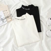 T-shirt White black M L XL Autumn of 2019 Long sleeves Half high collar Self cultivation Regular routine commute polyester fiber 86% (inclusive) -95% (inclusive) 18-24 years old Korean version youth Jiafei's Poems Polyester 95% polyurethane elastic fiber (spandex) 5% Exclusive payment of tmall