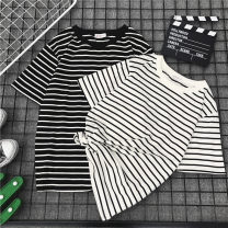 T-shirt Black and white M L XL XXL Summer of 2018 Short sleeve Crew neck easy Medium length commute polyester fiber 86% (inclusive) -95% (inclusive) 18-24 years old Korean version originality Color matching of thick horizontal stripe and fine horizontal stripe Jiafei's Poems J6019 Splicing