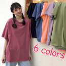 T-shirt Rose red orange blue black green purple M L XL Spring 2020 elbow sleeve Crew neck easy Regular routine commute cotton 96% and above 18-24 years old Korean version youth Solid color Pedophile Cotton 100% Pure e-commerce (online only)