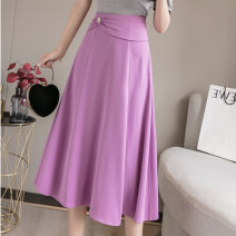 skirt Summer 2021 M L XL 2XL S Purple black Mid length dress commute High waist A-line skirt Solid color Type A More than 95% Silk and satin Love for Immortals other Pleated three-dimensional decorative nail bead zipper splicing Korean version Other 100% Pure e-commerce (online only)