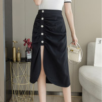 skirt Summer 2021 S M L XL 2XL black Mid length dress sexy High waist Irregular Solid color Type A 25-29 years old More than 95% Silk and satin Love for Immortals other Pleated button stitching Other 100% Pure e-commerce (online only)