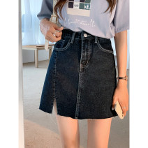 skirt Summer 2021 S M L XL Blue grey blue Short skirt commute High waist A-line skirt Solid color Type A 18-24 years old AK-1-2-A382-2381 71% (inclusive) - 80% (inclusive) other Amiluck polyester fiber Pocket button split Korean version Polyester 72% viscose 28% Pure e-commerce (online only)