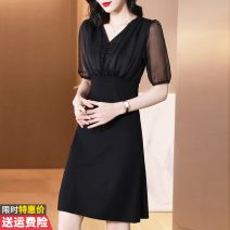 Dress Summer 2021 black S M L XL 2XL Mid length dress singleton  Short sleeve commute V-neck High waist Socket A-line skirt other Others 30-34 years old Type A Princess Daixiang Korean version GT554A-A5535 More than 95% Chiffon other Other 100% Pure e-commerce (online only)