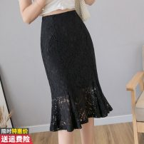 skirt Summer of 2019 S M L XL Apricot black Mid length dress commute High waist skirt Solid color 30-34 years old GT-2F-250-B-8126#038 More than 95% other Princess Daixiang polyester fiber Flounce cut-out Crochet cut-out gauze Korean version Polyester 100% Pure e-commerce (online only)