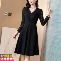 Dress Winter 2020 black M L XL 2XL 3XL Mid length dress singleton  Long sleeves commute V-neck middle-waisted Solid color Socket A-line skirt routine Others 30-34 years old Type A Princess Daixiang Korean version Pleated lace BH458-9735 More than 95% other other Other 100%