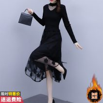 sweater Winter 2020 L XL 2XL 3XL 4XL 5XL Black [without pile] black [with pile] Long sleeves Socket singleton  Medium length other 95% and above Half high collar thickening commute routine Solid color Self cultivation Regular wool Keep warm and warm 30-34 years old Princess Daixiang BH319A-7873