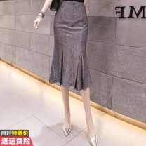skirt Summer of 2019 S M L XL Grey apricot Mid length dress commute High waist A-line skirt Solid color 30-34 years old More than 95% Princess Daixiang other Pleated stitching Korean version Other 100% Pure e-commerce (online only)
