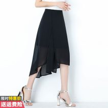 skirt Summer 2020 M L XL 2XL 3XL Black blue Mid length dress commute High waist Irregular Solid color Type A 30-34 years old NRJE202C-567 More than 95% Chiffon Princess Daixiang polyester fiber Asymmetry Korean version Polyester 100% Pure e-commerce (online only)