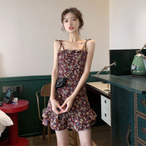 Dress Summer 2021 Picture color S M L XL Short skirt singleton  Sleeveless commute One word collar High waist Broken flowers Socket A-line skirt Petal sleeve camisole 18-24 years old Type A Yaborai Korean version Auricularia auricula with lotus leaf YBL-42967827 More than 95% Chiffon other Other 100%