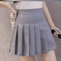 skirt Spring 2020 S,M,L,XL,2XL White, black, pink, blue grid, pink grid, gray grid, gray grid Short skirt High waist Pleated skirt C33182 Other / other Pleating