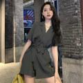 Casual pants Grey black S M L XL Summer 2021 shorts Pencil pants High waist commute routine 31% (inclusive) - 50% (inclusive) d1005 Fan Ersha Korean version pocket Polyester 100% Pure e-commerce (online only) Asymmetry