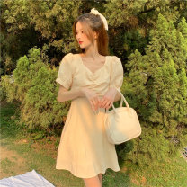 Dress Summer 2021 Goose short goose long S M L XL Short skirt singleton  Short sleeve commute square neck High waist Solid color Socket A-line skirt puff sleeve Others 18-24 years old Type A Ming Meiting Korean version 5#326#534 More than 95% other other Other 100% Pure e-commerce (online only)