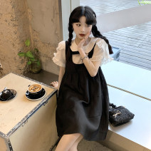 Dress Summer 2021 Single shirt single strap skirt S M L XL Short skirt singleton  Short sleeve commute Crew neck High waist Solid color Socket A-line skirt routine straps 18-24 years old Type A Ming Meiting Korean version straps 6#43#610 More than 95% other other Other 100%