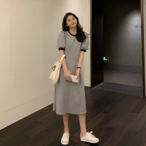 Dress Summer 2021 Black grey S M L XL Mid length dress singleton  Short sleeve commute Crew neck High waist Solid color Socket A-line skirt puff sleeve Others 18-24 years old Type A Ming Meiting Korean version 4#41#597 More than 95% other other Other 100% Pure e-commerce (online only)
