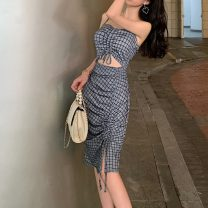 Dress Summer of 2019 Grey grid S,M,L Mid length dress singleton  Sleeveless street One word collar High waist lattice zipper One pace skirt routine camisole 25-29 years old Other / other Backless, pleated, stitched, strapped, zipper 51% (inclusive) - 70% (inclusive) other cotton Europe and America