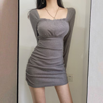 Dress Autumn 2020 Flower grey S,M,L Short skirt singleton  Long sleeves commute square neck High waist Solid color zipper One pace skirt routine Others Type X Other / other Korean version Fold, auricle, thread More than 95% cotton