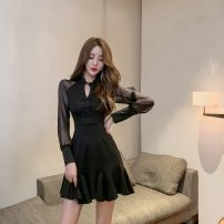 Dress Autumn 2020 black S,M,L,XL Long sleeves High waist Solid color zipper Ruffle Skirt 71% (inclusive) - 80% (inclusive) brocade