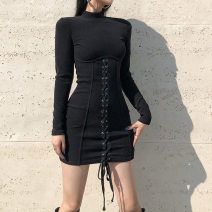Dress Autumn 2020 black S,L,M Short skirt singleton  Long sleeves street Crew neck High waist Solid color Socket other routine Others 51% (inclusive) - 70% (inclusive) other polyester fiber Europe and America