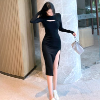 Dress Autumn 2020 Black, pink S,M,L,XL Mid length dress Fake two pieces Long sleeves commute Crew neck Solid color Socket Pencil skirt routine Others Type X Korean version Hollowing, folding, splicing, asymmetry 71% (inclusive) - 80% (inclusive) other cotton