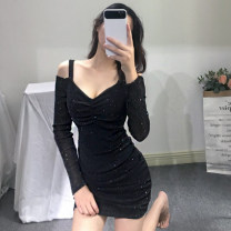 Dress Autumn of 2019 black S,M,L,XL Short skirt singleton  Long sleeves street One word collar High waist Solid color zipper One pace skirt routine camisole 25-29 years old Type X 51% (inclusive) - 70% (inclusive) other polyester fiber Europe and America
