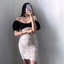 Dress Autumn 2020 black S,M,L Short skirt Fake two pieces Short sleeve square neck High waist Decor One pace skirt routine Breast wrapping Type X Ruffle, open back, fold, stitching, zipper, lace 71% (inclusive) - 80% (inclusive) Lace