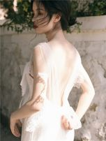 Dress Summer 2020 white S,M,L Mid length dress singleton  Sweet V-neck High waist Solid color Princess Dress 18-24 years old Chiffon Bohemia