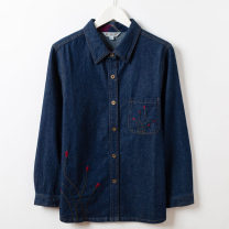 Middle aged and old women's wear Autumn 2020 Denim blue L,XL,2XL,3XL,4XL leisure time Jacket / jacket easy singleton  Solid color 50-59 years old Cardigan moderate Polo collar routine shirt sleeve Embroidery 96% and above Single breasted