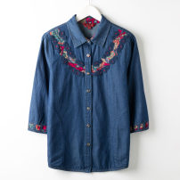 Middle aged and old women's wear Autumn 2020 Safflower, blue flower L,XL,2XL,3XL,4XL fashion shirt easy singleton  50-59 years old Cardigan thin square neck routine pocket Cotton, denim 96% and above Single breasted three quarter sleeve