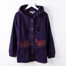 Middle aged and old women's wear Winter of 2019, autumn of 2019 Blue, purple XL,2XL,3XL,4XL fashion Jacket / jacket easy singleton  Over 60 years old Cardigan thickening Hood Medium length (length 50-70cm) routine Embroidery pure cotton 96% and above Single breasted