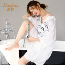 Nightdress Company 50201 white M L XL XXL XXXL sexy three quarter sleeve pajamas Middle-skirt summer Solid color youth Shirt collar Polyester (polyester) printing 81% (inclusive) - 95% (inclusive) silk Summer 2020 Polyester 95% polyurethane elastic fiber (spandex) 5% Pure e-commerce (online only)
