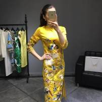 Dress Autumn of 2019 Bright yellow, red S,M,L,XL,2XL Mid length dress singleton  three quarter sleeve commute stand collar middle-waisted Animal design zipper A-line skirt other Others 25-29 years old Type A Retro Embroidery, zipper 31% (inclusive) - 50% (inclusive) other polyester fiber