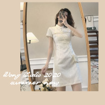 Dress Summer 2021 Picture color S M L XL Short skirt singleton  Short sleeve commute stand collar High waist Solid color A-line skirt routine Others 18-24 years old Yan Chen Korean version More than 95% other Other 100% Pure e-commerce (online only)