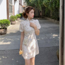 Dress Summer 2021 Apricot short apricot long blue short blue long S M L XL Short skirt singleton  Short sleeve commute stand collar High waist Broken flowers A-line skirt bishop sleeve Others 18-24 years old Yan Chen Korean version More than 95% other Other 100% Pure e-commerce (online only)