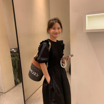 Dress Summer 2021 black S M L XL longuette singleton  Short sleeve commute Crew neck High waist Solid color A-line skirt puff sleeve Others 18-24 years old Yan Chen Korean version More than 95% other Other 100% Pure e-commerce (online only)