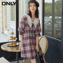 Dress Autumn 2020 155/76A/XS 160/80A/S 165/84A/M 170/88A/L 175/92A/XL Short skirt singleton  elbow sleeve commute Doll Collar High waist lattice Socket A-line skirt other Others 18-24 years old ONLY Retro More than 95% polyester fiber Polyester 98% polyurethane elastic fiber (spandex) 2%