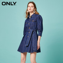 Dress Summer 2020 F13 maple leaf autumn leaf j35 510 wash denim 510 Jeans Blue 155/76A/XS 160/80A/S 165/84A/M 170/88A/L 175/92A/XL Short skirt singleton  elbow sleeve commute other middle-waisted Solid color Single breasted A-line skirt routine 18-24 years old ONLY Simplicity Lace up pocket button