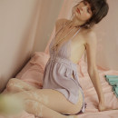 Pajamas / housewear set female Mrs song M, L Light purple, light green, pink Polyester (polyester) camisole sexy pajamas summer Thin money V-neck Solid color Socket youth 2 pieces rubber string More than 95% lace SY019 UltraShort