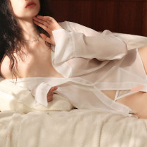 Nightdress Mrs song Milky white, black M, L sexy pajamas UltraShort  Solid color youth V-neck Polyester (polyester) 81% (inclusive) - 95% (inclusive) Chiffon SY066