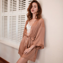 Nightgown / bathrobe Mrs song female M, L Black, rose pink, milky brown Thin money sexy Polyester (polyester) 81% (inclusive) - 95% (inclusive) Short (Mid Thigh to knee) Solid color youth SP006