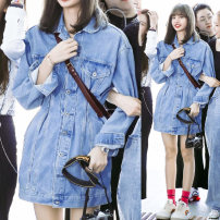Dress Autumn of 2019 Light blue, light blue [72 hours hair] S,M,L,XL Middle-skirt singleton  Long sleeves street Polo collar High waist Solid color Single breasted A-line skirt Bat sleeve Type A Denim cotton Europe and America