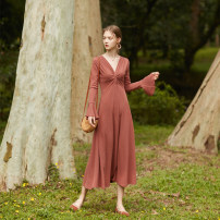 Dress Spring 2020 Retro rust red S,M,L longuette singleton  Long sleeves commute V-neck High waist Solid color other A-line skirt Lotus leaf sleeve Others 18-24 years old Type A Simplicity Ruffles, folds 51% (inclusive) - 70% (inclusive) knitting cotton