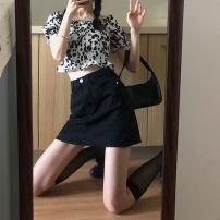 skirt Summer 2021 S M L Black skirt top Short skirt High waist Denim skirt A4565 More than 95% John Ratzenberger  other Other 100% Pure e-commerce (online only)