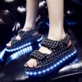 Sandals 34 35 36 37 38 39 40 Black and white grid without light black bright leather without light black and white grid with light Other / other PU PU