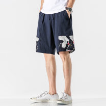 Casual pants Sage lizard Fashion City Black, Navy, grey XL,4XL,5XL,L,M,XXL,XXXL routine Pant Other leisure easy No bullet summer youth Chinese style 2020 middle-waisted Straight cylinder jacquard weave Animal design other Cotton and hemp