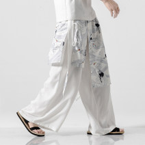 Casual pants The story of Fengting Youth fashion White, black, peacock blue, navy M,L,XL,2XL,3XL,4XL,5XL thin trousers Other leisure Straight cylinder get shot K71 summer Large size Chinese style 2019 Medium low back Straight cylinder Flax 80% cotton 20% Haren pants printing washing Animal design
