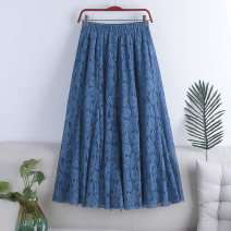 skirt Spring 2021 Average size Blue, white, black, pink Mid length dress Versatile High waist A-line skirt Solid color Type A 18-24 years old 71% (inclusive) - 80% (inclusive) Lace polyester fiber Lace 181g / m ^ 2 (including) - 200g / m ^ 2 (including)