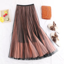 skirt Autumn of 2018 Average size Light orange, gray blue, light yellow, gray, black, royal blue, purple red Mid length dress commute High waist Fluffy skirt Solid color Type A 18-24 years old 30% and below other cotton Gauze Korean version 101g / m ^ 2 (including) - 120g / m ^ 2 (including)