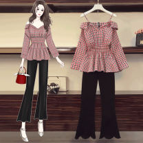 Women's large Autumn 2020 Black suit red suit black single top red single top single pants Other oversize styles Two piece set commute easy moderate Socket Long sleeves Korean version V-neck routine Three dimensional cutting routine Caiqi Tengyi 25-29 years old Pure e-commerce (online only)