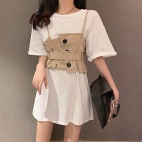 Dress Spring 2020 White single skirt, coffee vest, black single skirt S,M,L,XL Mid length dress singleton  Short sleeve commute Crew neck High waist Solid color Socket A-line skirt routine Others 18-24 years old Korean version 71% (inclusive) - 80% (inclusive) polyester fiber